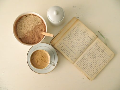 diary and a cup of coffee